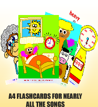 A4 Flashcards for nearly all the songs